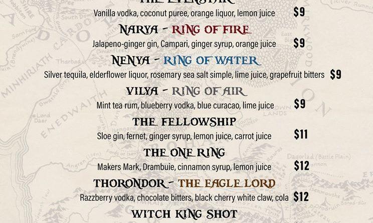 Lotr Drink Menu Minas Tirith
