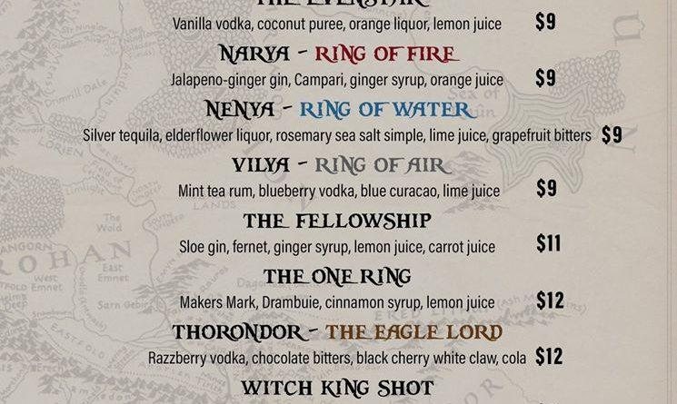 Lotr Drink Menu Mordor