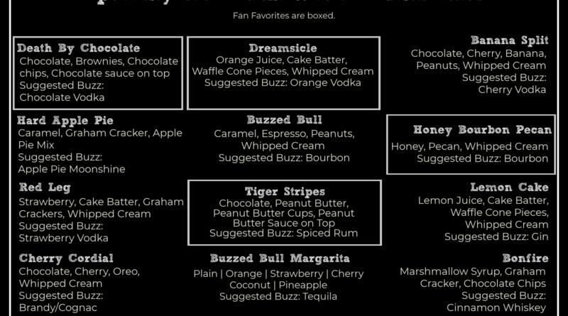 Buzzed Bull Creamery Menu