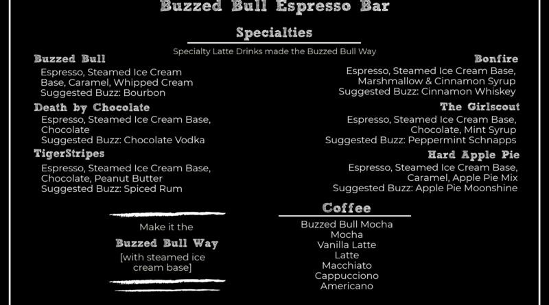 Buzzed Bull Creamery Menu Espresso Bar